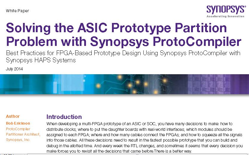 ProtoCompiler whitepaper explaining how the challenge of multi-FPGA ASIC prototyping is solved automatically