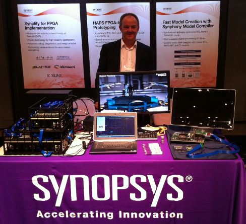 Andy staffing the booth at SNUG Japan. Demo is the IMG PowerVR 6XT Dual core GPU on HAPS