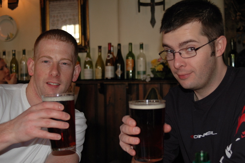 Mick & Alex enjoy a beer in the UK
