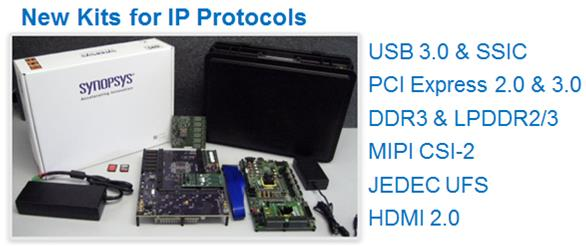 List of new DesignWare IP Prototyping kits, USB 3.0, UFS, PCIe and more....