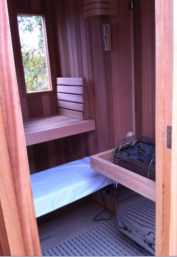 The inside of our Finlandia Sauna kit