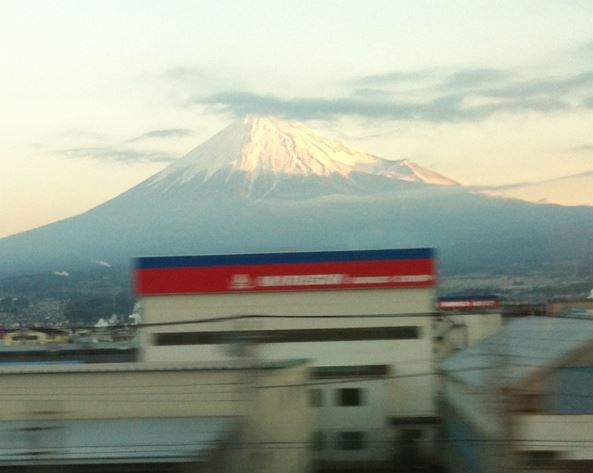 Mount Fuji as seen from train from Tokyo to Shin-Osaka