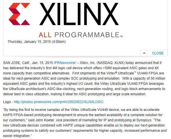 Snippet from Xilinx Press release on the VU440 device and the fact that Synopsys received the first device samples