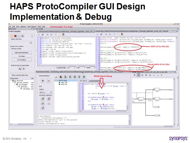 HAPS ProtoCompiler for Xilinx UltraScale VU440 design implementation GUI