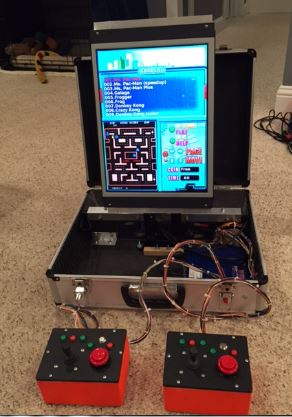 Mick built toys gaming console in a briefcase in action