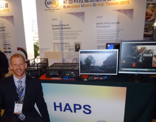 The HAPS-80 demo station at SNUG Taiwan. Who is that good looking guy