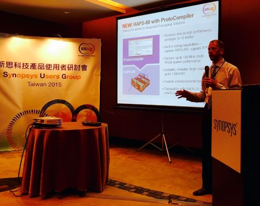 Mick Introduces HAPS-80 with integrated ProtoCompiler to the world at SNUG Taiwan