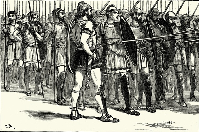 Vintage engraving of a Macedonian Phalanx. The phalanx was a rectangular mass military formation, usually composed entirely of heavy infantry armed with spears, pikes, sarissas, or similar weapons.