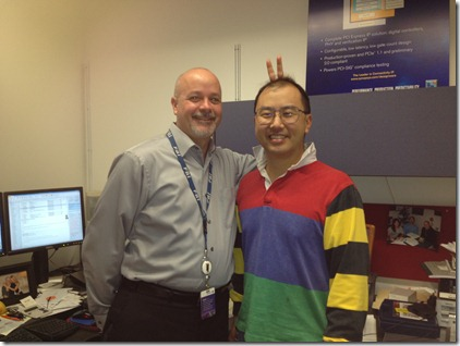 Scott Knowlton in 2012 Clothing and Eric Huang in 1980s Clothing