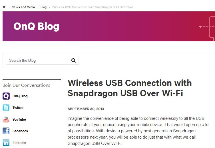 Qualcomm blog talking about Snapdragon USB over WiFi