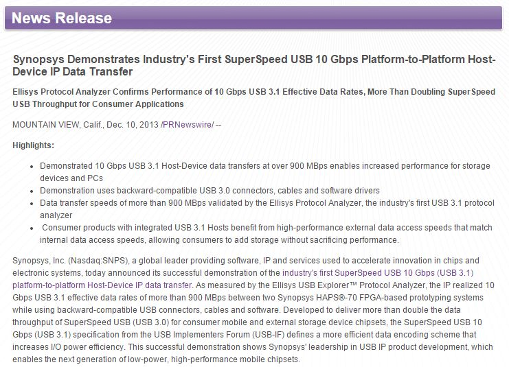 Synopsys First and Most Comprehensive USB 3.1 Solution