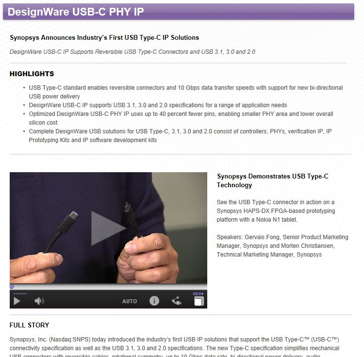 Synopsys Type C PHY announcement