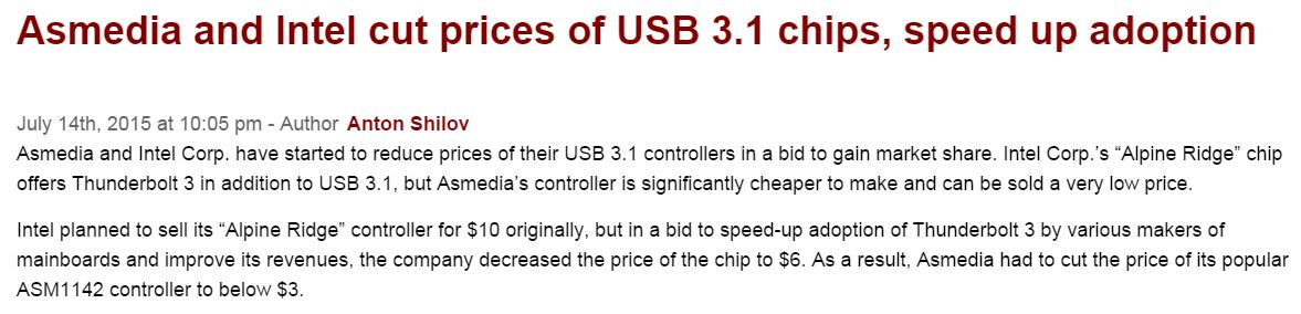 USB 31 Host controllers get cheaper
