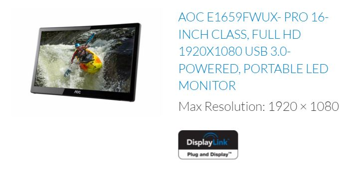 AOC USB 3.0 Powered Monitor with DisplayLink chip inside