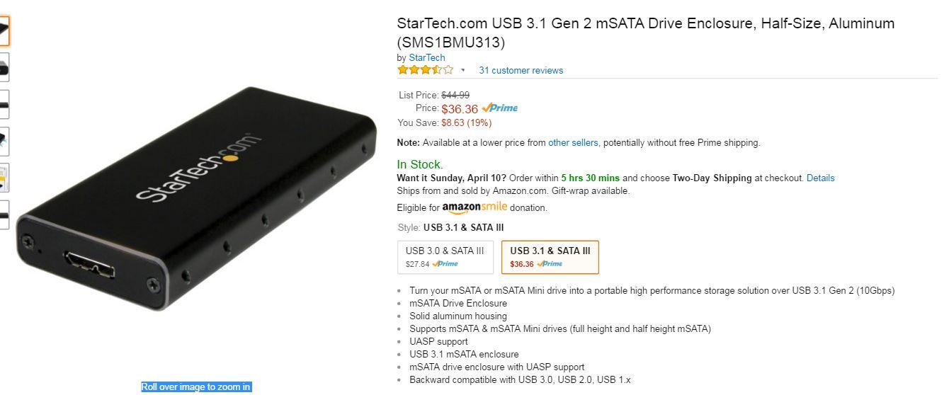 USB 3.1 Gen 2 for mSATA SSD