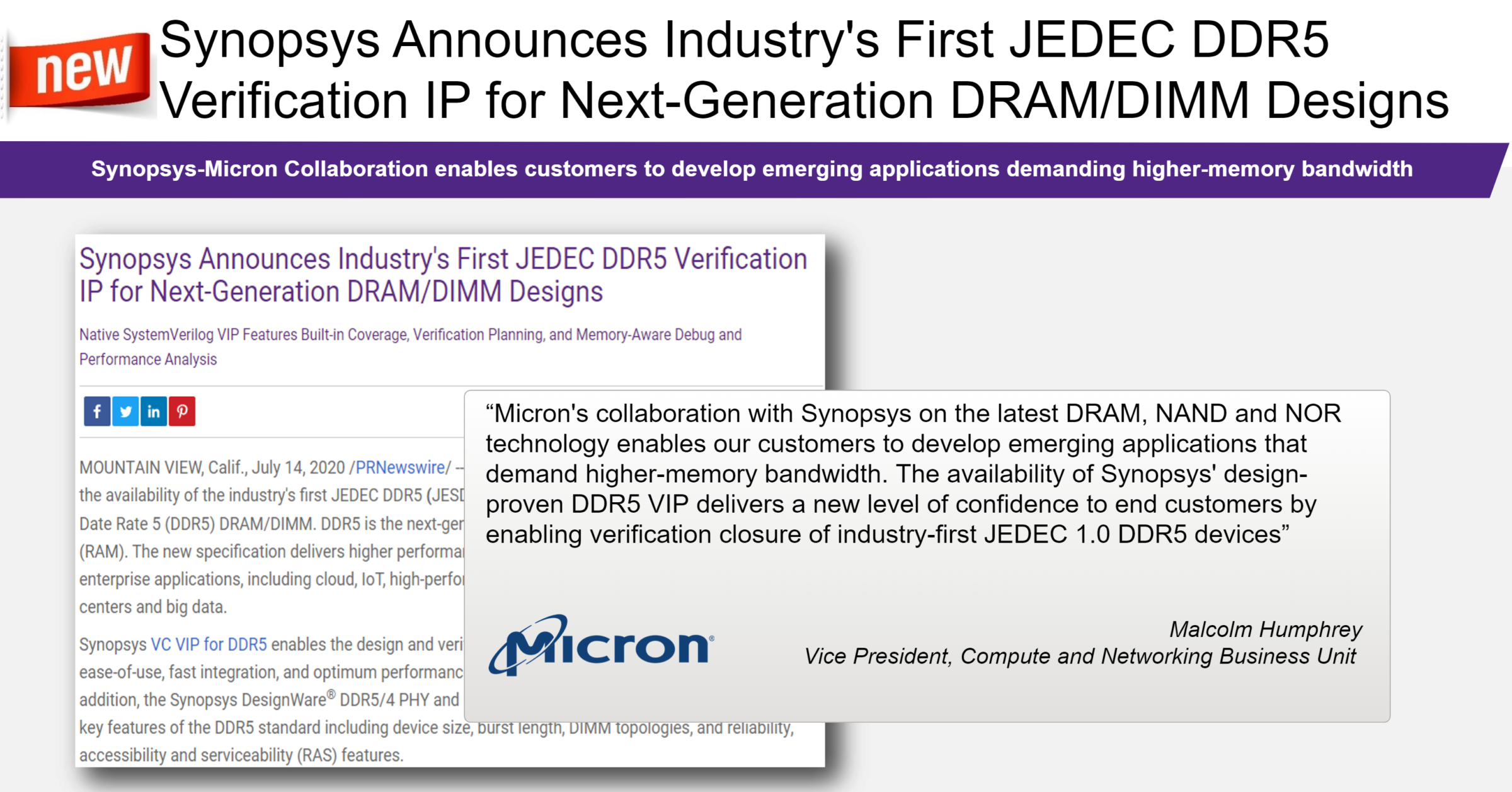 The wait is over – JEDEC Announces JESD79-5, DDR5 SDRAM VIP for High Performance Computing