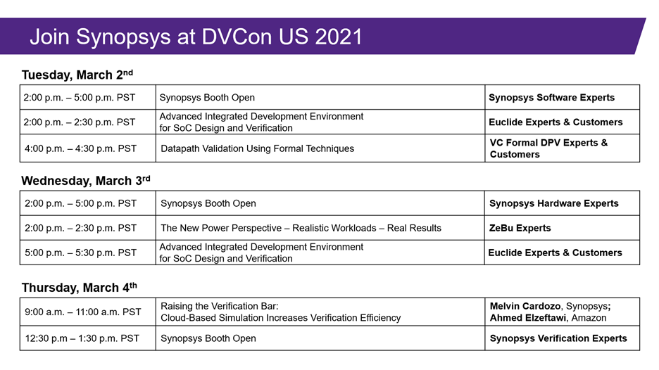 Synopsys at DVCon US 2021 – Join us!